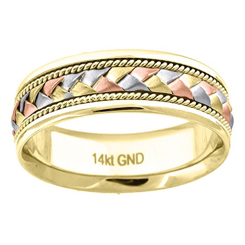 14kt Gold Unisex Tri-color Braided Woven Center Twisted Rope Sides 7mm-SZ13 Wedding Engagement Band Ring - Gold Braided Ring