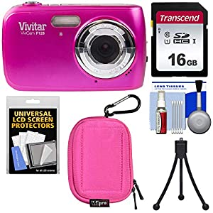 515I1pd3FML. SS300  - Vivitar ViviCam F126 Digital Camera (Pink) with 16GB Card + Case + Mini Tripod + Kit