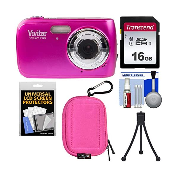 515I1pd3FML. SS600 - Vivitar ViviCam F126 Digital Camera (Pink) with 16GB Card + Case + Mini Tripod + Kit