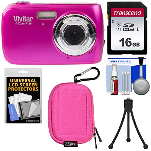 Vivitar ViviCam F126 Digital Camera (Pink) with 16GB Card + Case + Mini Tripod + Kit