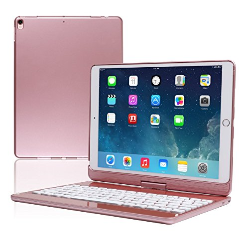 Koch Creative iPad Keyboard Case for iPad pro 10.5 360 Rotatable Wireless Backlit 7 Color iPad Case with Keyboard.(Rose Gold) by Kochcreative