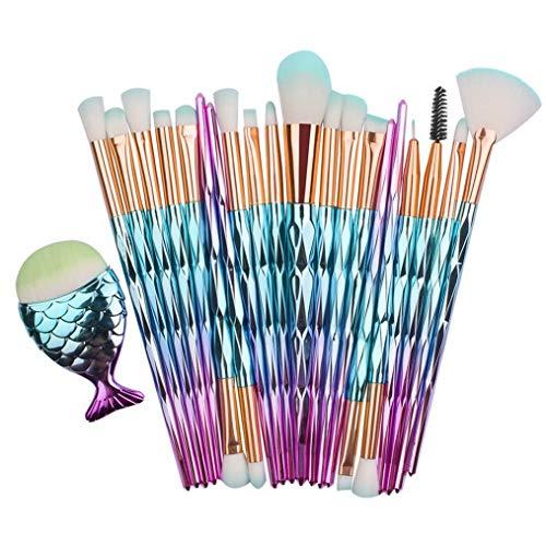 Kaputar Pro Mermaid Glitter Rose Gold Makeup Brushes Set Powder Foundation Cosmetic Kit | Model MKPBRSH - 4248 | 21PCS Pink Blue