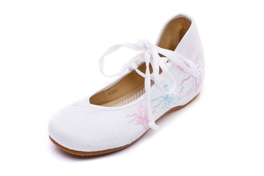 AvaCostume Women's Butterfly Embroidery Lace-Up Travel Single Shoes White 39