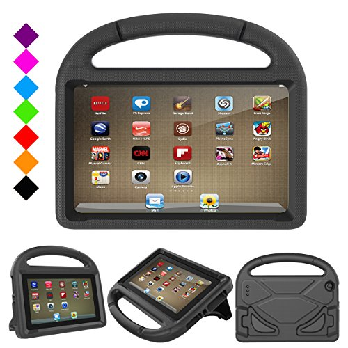 Fire 7 2017 Kids Case, Fire 7 2015 Kids Case - DiHines Light Weight Shock Proof Handle Friendly Stand Kid-Proof Case for All New Amazon Fire 7 inch Display Tablet Cover(2015&2017 Release) (Black)