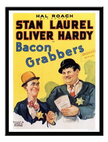 Iposters Laurel And Hardy Bacon Grabbers Movie Print 1929 Magnetic Memo Board Black Framed - 41 X 31 Cms (approx 16 X 12 Inches) by iPosters (Image #1)