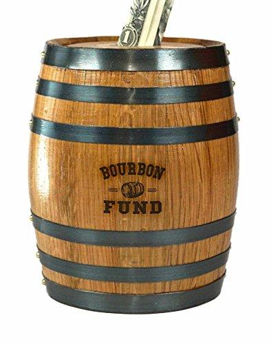 Mini Oak Barrel Piggy Bank Fund for Adults (Bourbon - Bourbon Mini Whiskey