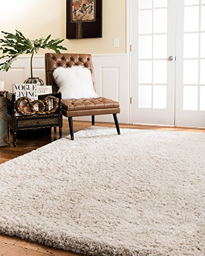 NaturalAreaRugs Cerdena Polyester Shag Rug, Durable, Luxurious, Soft, Elegant, Cotton & Polyester Mixed Canvas, White, 6' x 9' by NaturalHomeRugs