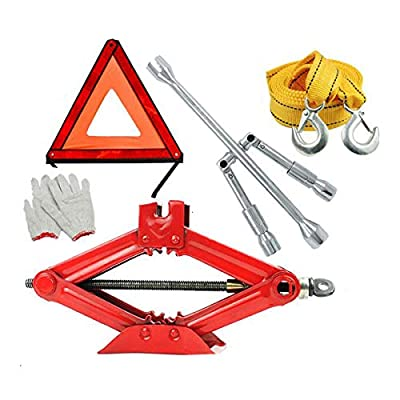 Huijunwenti Jack, Scissor Jack, Mechanical Top, Carrying 1 Ton, Suitable for Car SUV Commercial Vehicle, Emergency Rescue Auto Repair Tools, Hand-Operated, Tire Changing Tools
