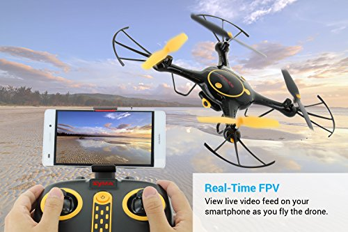 Tenergy-Syma-X5UW-Wifi-FPV-RC-Camera-Drone-HD-720P-Camera-with-Smart-Phone-App-Headless-Quadcopter-Drone-for-Beginners-2-Batteries-Included-Exclusive-Black-Yellow-Color