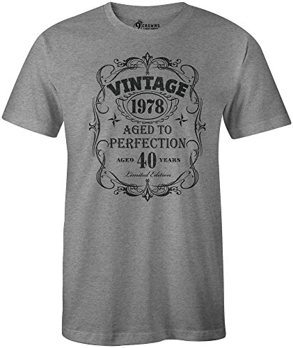 9 Crowns Tees Men's Vintage 1958 1968 1978 1988 Aged to Perfection 30th, 40th, 50th, 60th Birthday T-Shirt