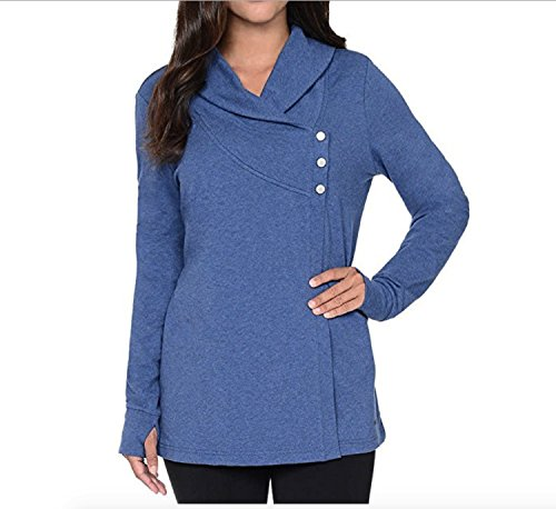 Danskin Women's French Terry Asymmetrical Yoga Wrap Jacket (Blue, -