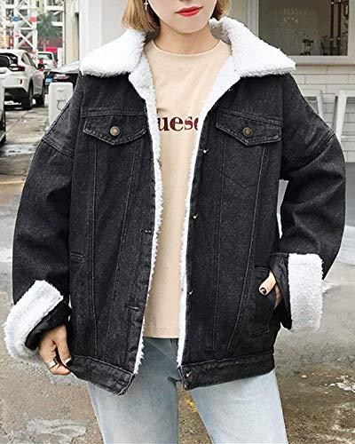 Invernali Button Hipster Manica Style Sciolto Casuale Bavero Ragazze Giacca Tasche Velluto Festa Fashion Cappotto Spesso Di Giacche Jeans Fidanzato Lunga Outerwear Donna Schwarz Moda Autunno Con 1qnfnE