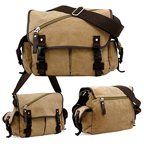 Oct17 Men Messenger Bag School Shoulder Canvas Bag Vintage Crossbody Satchel Laptop Business Bags - Khaki