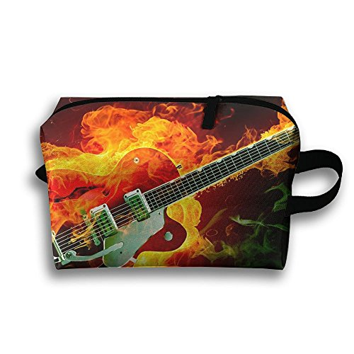 With Wristlet Cosmetic Bags Fire Electric Rockabilly Guitar Brush Pouch Portable Makeup Bag Zipper Wallet Hangbag Carry Case -
