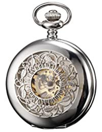 KS Men's Silver Skeleton Hand Winding Mechanical Analog Pocket Watch + Chain KSP048