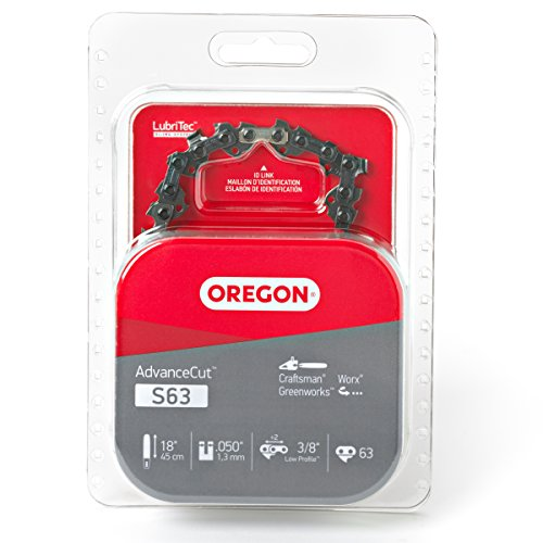 Oregon S63 AdvanceCut 18-Inch Chainsaw Chain, Fits Craftsman, Worx, Greenworks, Grey (Best 18 Inch Chainsaw Chain)