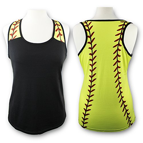 T-shirt Cut Football Womens (KnitPopShop Softball Tank Top for Mom Fans T Shirt Apparel Tshirt Gifts Team (Black/Yellow, Large))