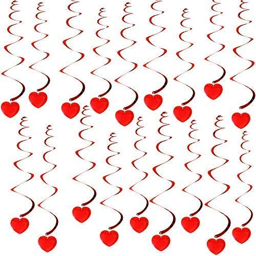 KATCHON 18 Hanging Heart Swirls - Valentines Day Decorations - Valentines Day Hanging Decorations for Ceiling - Great for Anniversary , Wedding, Birthday, Bridal Shower, Bachelorette Party Supplies
