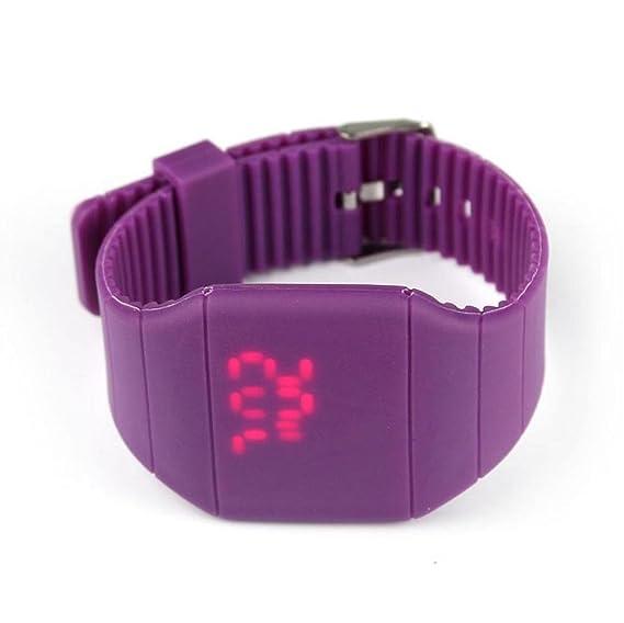 Vovotrade para niño niña selflover Marque impermeable Digital LED Touch reloj pulsera regalo (morado)