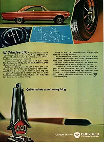 Magazine Print Ad: 1967 Plymouth Belvidere GTX, Wedge-Head 440 V-8, Street Hemi 426,