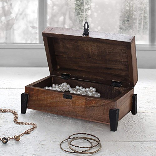 Jewelry Box with Metal Latch Keepsake Storage Trinket Memory Box Decorative Wooden Organizer and (Indian Armoire)