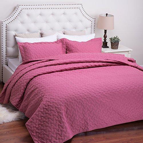 Quilt Set Solid Rose Full/Queen Basketweave Pattern Lightweight Hypoallergenic Microfiber