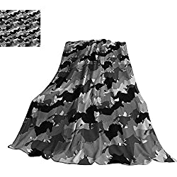 "WinfreyDecor Horses Blanket Sheets Mustang Herd Galloping Together Animal Silhouettes Wildlife Abstract 50"" Wx70 L Charcoal Grey Silver Black"