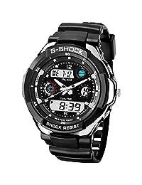 Ak1170 Alike Analog-digital Electronic Watch Fashion Sports Wristwatches 50m Waterproof Diving Watch Japan Quartz Movement (silver)