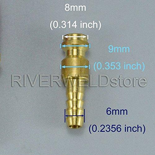 Raccord de connecteur rapide refroidi par eau et adaptateur de gaz pour PTA DB SR WP 9 17 18 26 Chalumeau de soudage TIG Rouge Bleu Or Couleur 3set