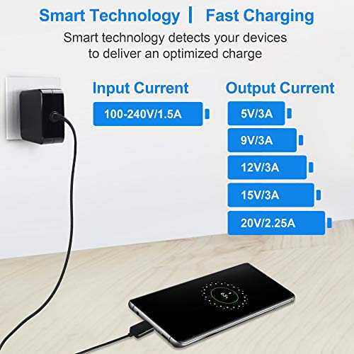 """LotFancy Type C Charger for Laptop, Nintendo Switch, Cell Phone, Tablet, 45W USB C Fast Charger, Power Supply Adapter for Dell XPS, Lenovo ThinkPad, MacBook 12"""", LG, Samsung Galaxy, 5.9FT, UL Listed"""
