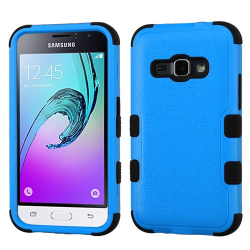 Samsung Galaxy Luna (TRACFONE) Case, Galaxy Luna Cases, BornTech Dual Layer Shockproof Tuff Protector Phone Case Cover (Black/Blue)