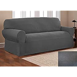 Elegant Home One piece Stretch to Fit Sofa Cover Furniture Couch Slipcover # Stella (Dark Grey)