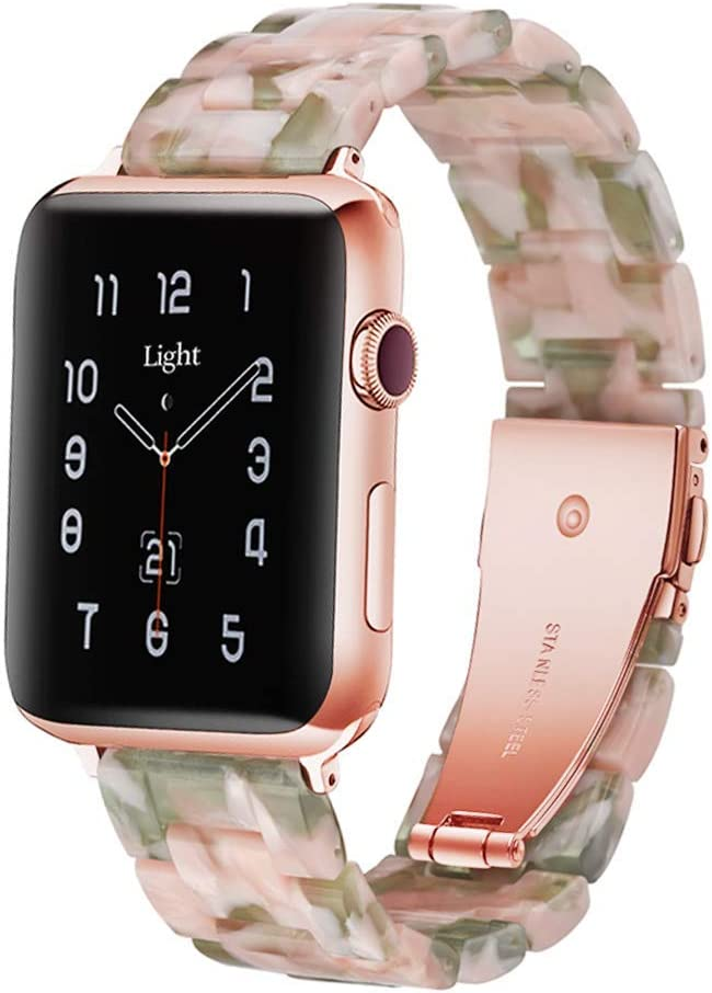 Light Apple Watch Band - Fashion Resin iWatch Band Bracelet Compatible with Copper Stainless Steel Buckle for Apple Watch Series 4 Series 3 Series 2 Series1 (Pink Green, 38mm/40mm)