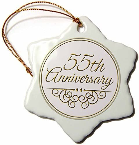 Amazon Com Pansy 3 Inch Porcelain Snowflake Decorative Hanging Ornament 55th Anniversary Gift Gold Text For Celebrating 55 Wedding Anniversaries Home Kitchen