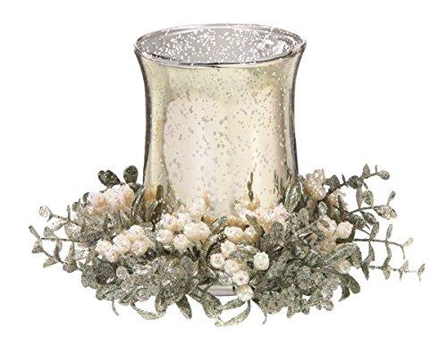 Ganz 6'' x 8'' Large Glass Tea Light Holder Champagne White Floral
