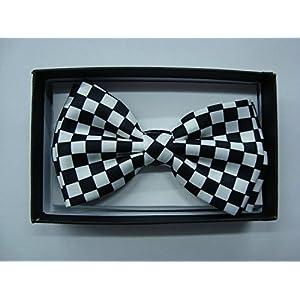 Men's Unisex Wedding Party Tuxedo Black Black and White Checker Checkered Diamond Dress Bow tie Bowtie! Brand New in Factory Box!