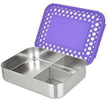 LunchBots Bento Trio Large Stainless Steel Food Container - Three Section Design Holds Sandwich and Two Sides - Bento Lunch Box for Kids or Adults - Dishwasher Safe and BPA-Free - Purple Dots