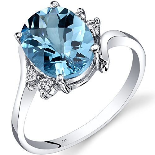 14K White Gold Swiss Blue Topaz Diamond Bypass Ring 2.75 (White Topaz Bypass Ring)