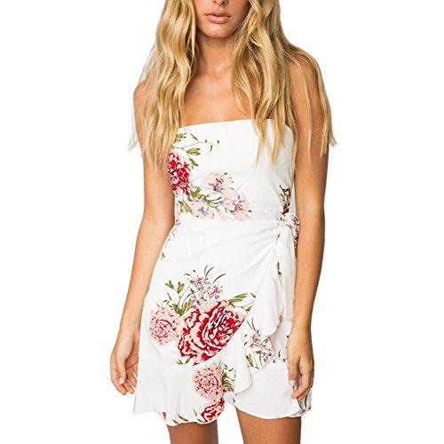iBaste Sexy Minikleid Damen Schulterfrei Sommerkleid Kurz Partykleid Strandkleid Weiß qfzsF7