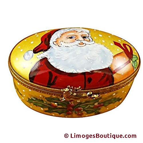 - STUDIO COLLECTION - OVAL W/SANTA CLAUS - LIMOGES BOX AUTHENTIC PORCELAIN FIGURINE FROM FRANCE