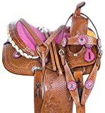 AceRugs 10 12 13 Pink Crystal Premium Leather Western Pleasure Trail Show Youth Kids Barrel Racing Pony Horse Saddle TACK Set (12)