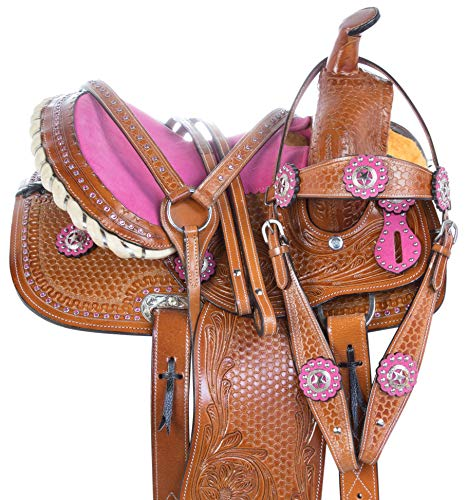 (AceRugs 10 12 13 Pink Crystal Premium Leather Western Pleasure Trail Show Youth Kids Barrel Racing Pony Horse Saddle TACK Set (12))
