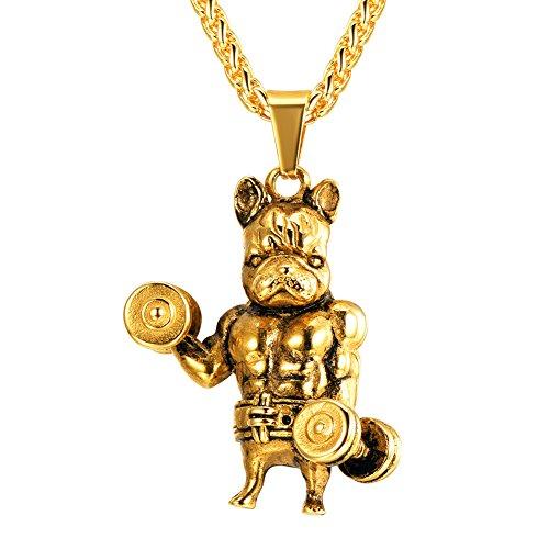 U7 Weight Lifting Bulldog Pendant Necklace Personalized Jewelry 18K Gold Plated Men Gift