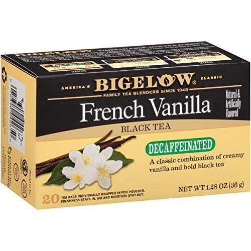 (Bigelow Decaffeinated French Vanilla Tea ,Decaffeinated Individual Black Tea Bags, for Hot Tea or Iced Tea, 20 Count (Pack of 6), 120 Tea Bags Total.)