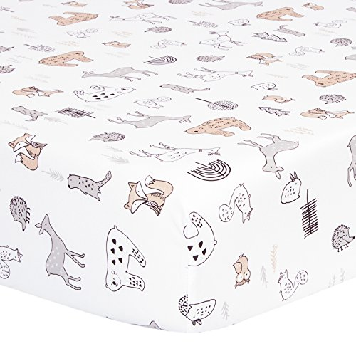 TILLYOU Microfiber Woodland Crib Sheet, Silky Soft Animals Toddler Sheets for Baby Boys and Girls, Lovely Breathable Cozy Hypoallergenic, 28 x 52in, Forest Animals Theme