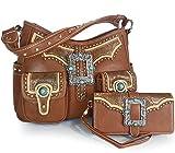 Montana West Concealed Carry, Multi Pocket Buckle Hobo + Wallet -Brown