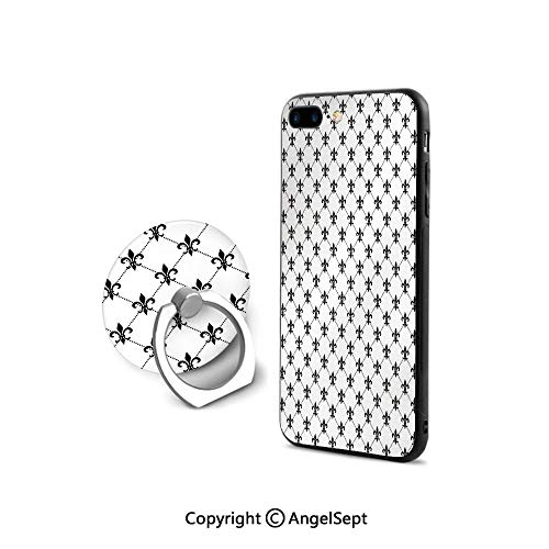 iPhone 8 Case/iPhone 7 Case with Ring Holder Kickstand,Checkered Dotted Pattern with Monochrome Abstract Lily Flower Ancient Revival Decorative,Ultra Thin Slim Cover Case,Black White