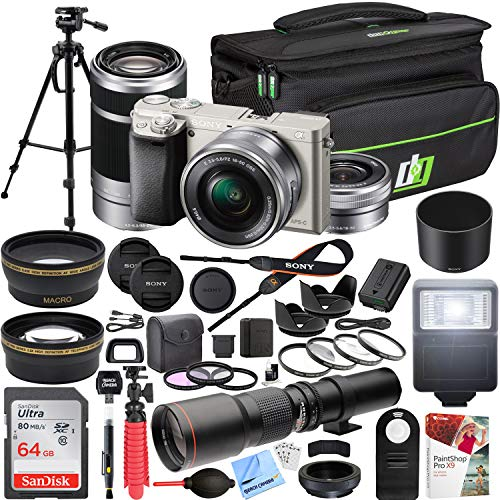 Sony Alpha a6000 Mirrorless Digital Camera (Silver) with 16-50mm & 55-210mm Lens ILCE-6000L/S and 500mm Preset f/8 Telephoto Lens + 0.43x Wide Angle, 2.2X Pro Bundle