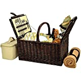 MD Group Buckingham Picnic Basket - Service for Four, 20'' x 16'' x 13.5'' x 23 lbs, Hamptons