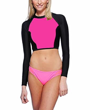 c619f1e0d3 Amazon.com  Juicy Couture Sport Pro Solids Rashguard Swim Top  Clothing